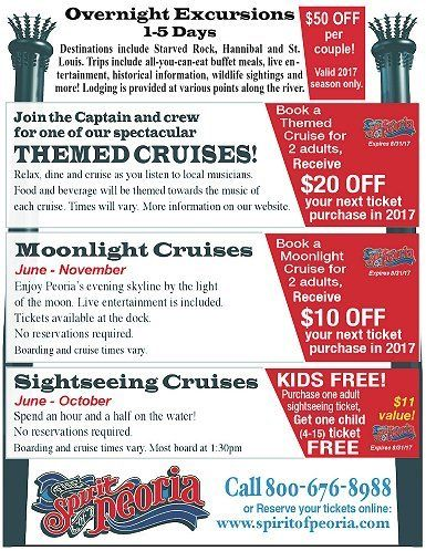 Spirit of Peoria day and themed moonlight cruises peoria river coupons