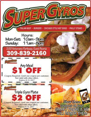 Super Gyros east peoria discount coupons