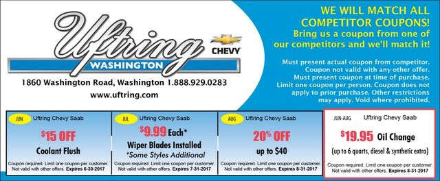 Uftring Chevy in Washington coolant flush wiper blades 20 off repairs maintenance oil change coupons