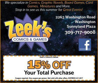 Zeek's Comics and Games superheroes 15% off coupons