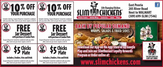 Slim Chickens Free jar dessert, 10% off discount, $5 Chicks Plate coupons East Peoria, IL