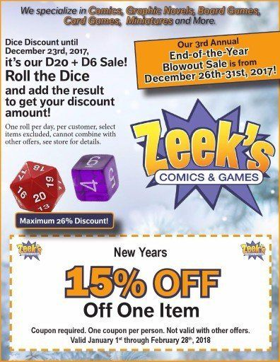 Zeek's Comics and Games  D20+D6 discount, end of year blowout, 15% off coupons Sunnyland Plaza in Washington, IL