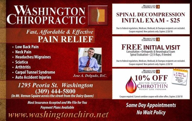 Washington Chiropractic chiropractor pain relief, inital visit, weightloss coupons
