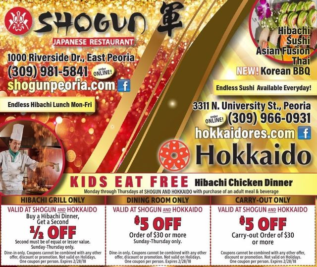 Shogun Japanese Endless Hibachi Lunch BOGO and $5 off restaurant coupons East Peoria, IL