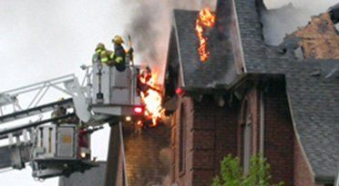 fire fighters tackling a blaze