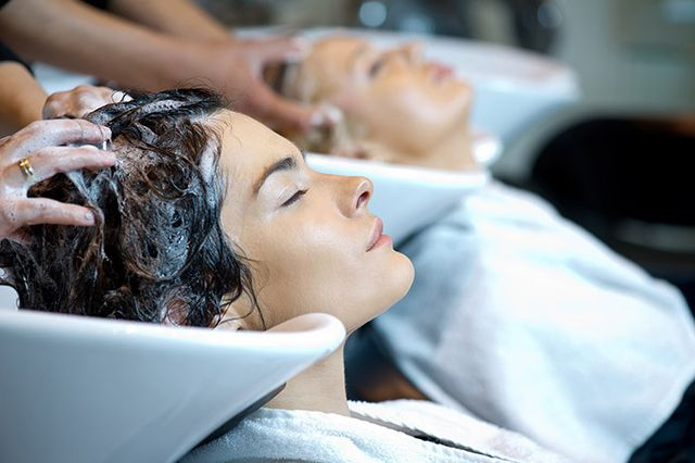 hair washing and conditioning in salon