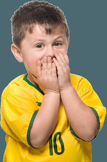 a boy closing his mouth