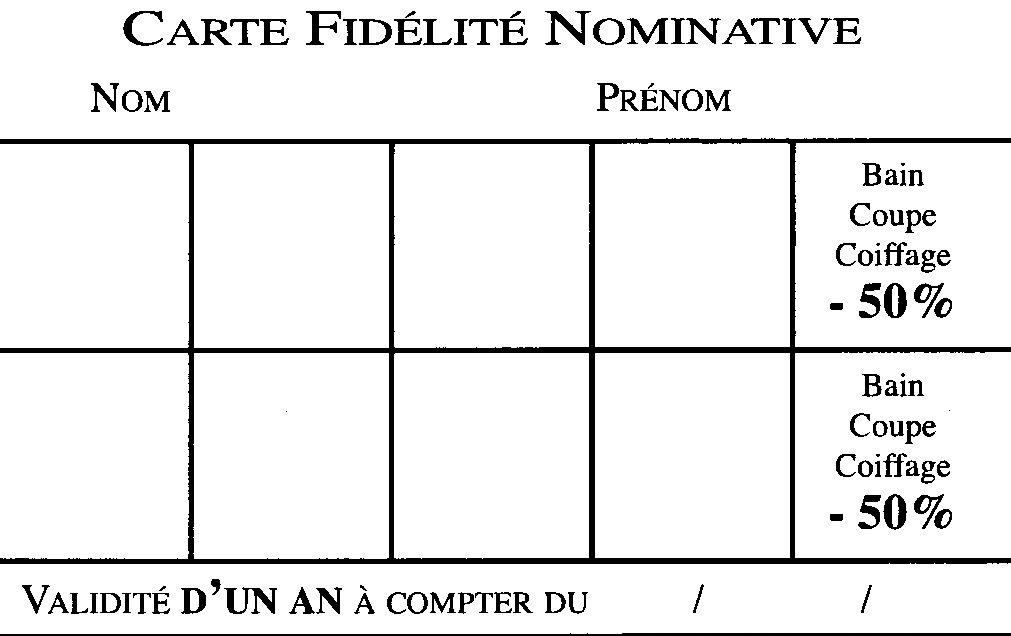 Carte de fidélité Salon Attitude Coiffure Rueil Malmaison coupon de parrainage
