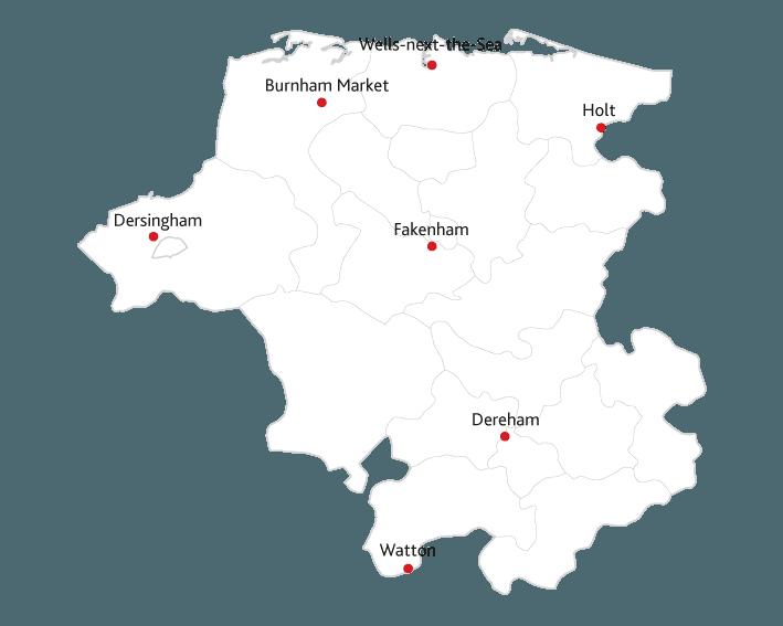 Dereham and Fakenham Times Routes to Market Map