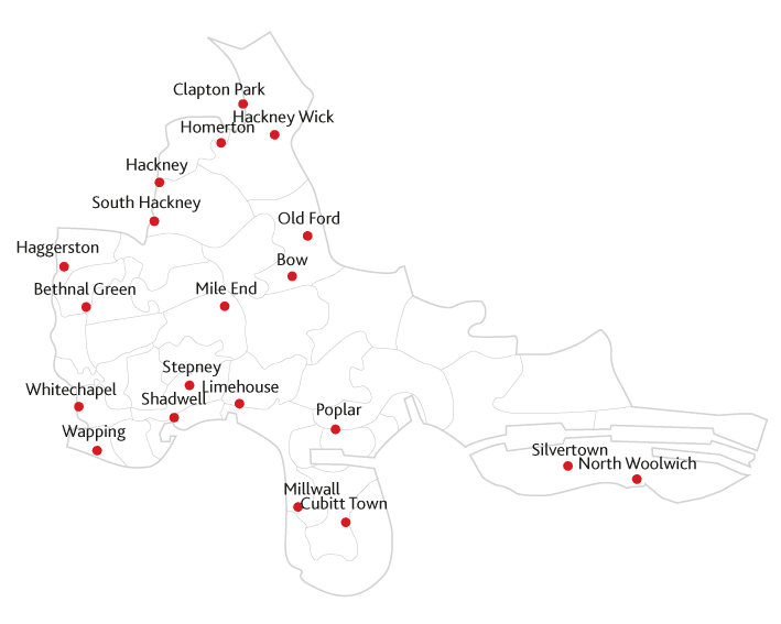 Docklands and East London Advertiser Routes to Market Map