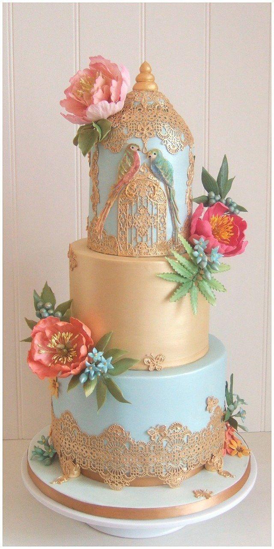 Tropical wedding cake Bristol, Parrot wedding cake Bristol, Gold and blue wedding cake Bristol, unique weddings cakes Bristol, unusual wedding cakes Bristol