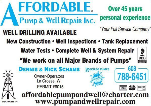 Affordable Pump & Well Repair Inc well inspections ad for La Crosse