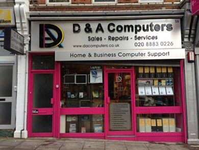 D & A Computers shop front in East Finchley