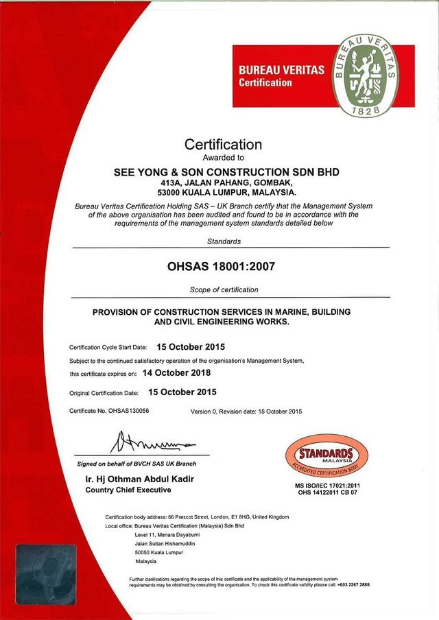 Sys Ohsas Certification By Bureau Veritas