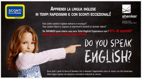 un volantino con l'immagine di una bambina che indica la scritta do you speak english?