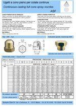 dati tecnici ugelli, ugelli per colate, ugelli per varie funzioni
