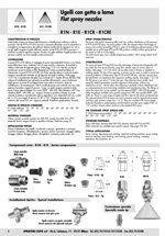ugelli con getto a lama, dati tecnici ugelli, informazioni tecniche ugelli