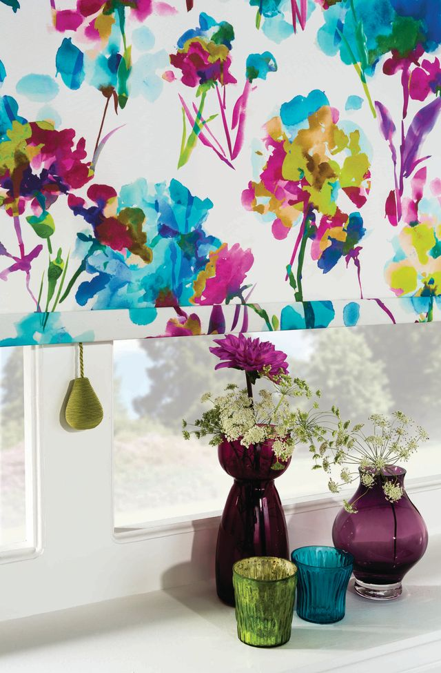 A roller blind with flowers on it