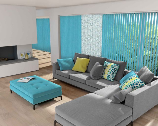 Light blue blinds in a stylish living area
