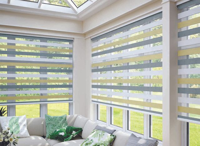 Fitted blinds in a conservatory