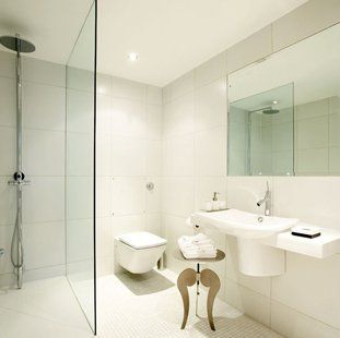 shower room themed in white