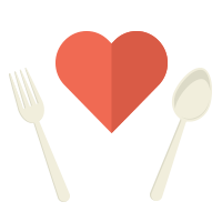 Heart in between fork and spoon illustration icon