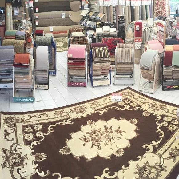 A view of our store with a best selling rug.