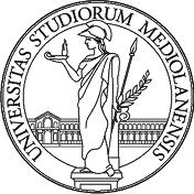 un logo con un uomo vestito da cavaliere con scritto Universitas Studiorum Mediolanensis