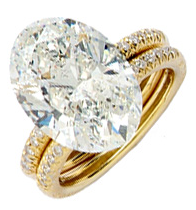 Double banded gold diamond ring