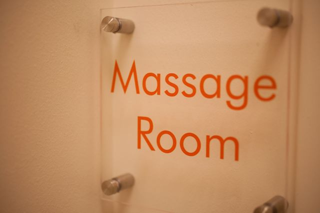 Amenities at Pilates Denver include a massage room