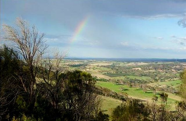 adelaide hills view with rainbow