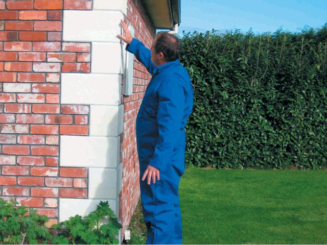 Man checking brickwork for cracks or pests
