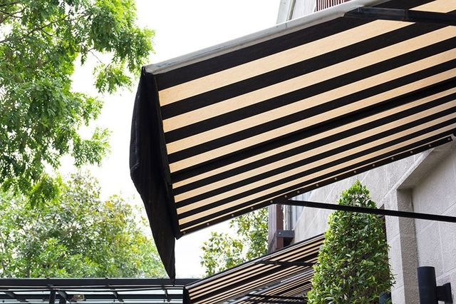 Black and white awning decor