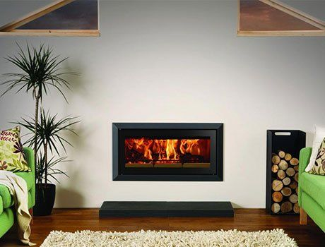 Wood burning fireplace at Roy Terry Fireplaces Ltd