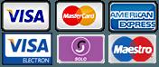 Visa, MasterCard, American Express, Visa Electron, Solo, Maestro