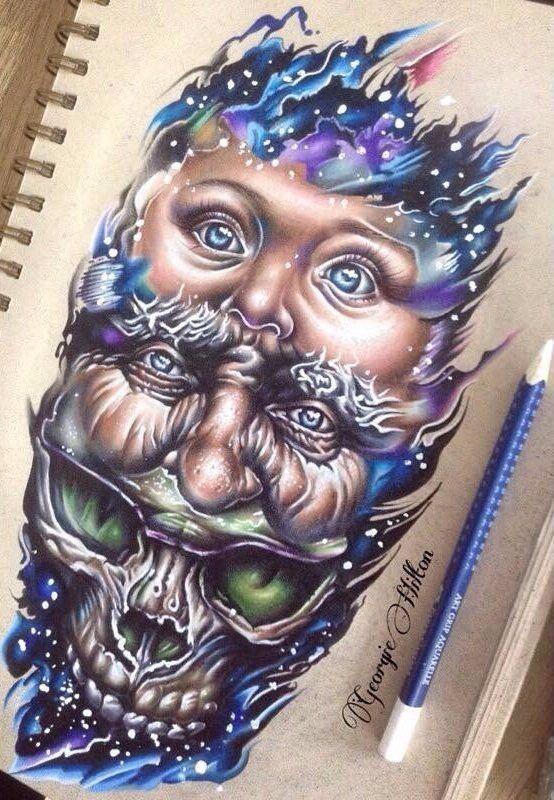 triple face tattoo