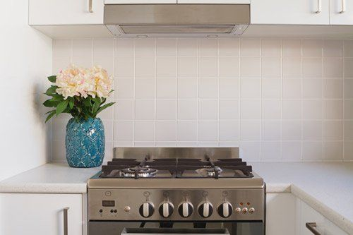 View of commercial gas stove