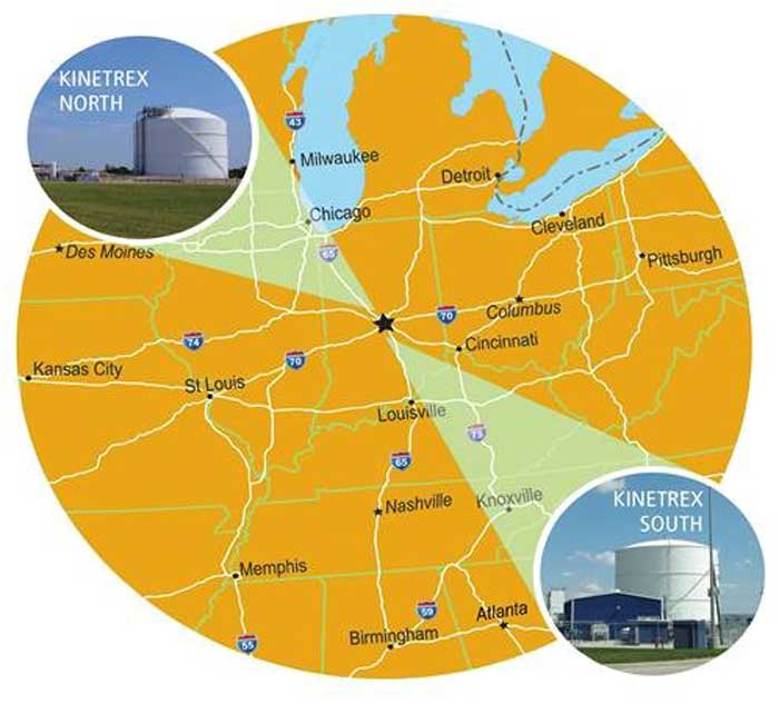Kinetrex Energy LNG Midwest Map