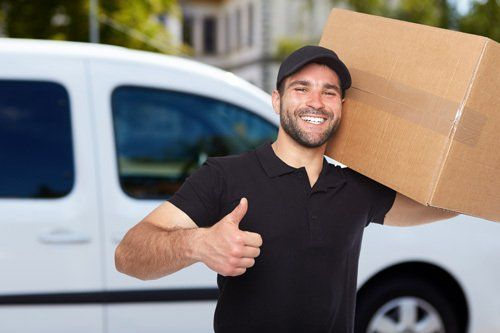 Relocation professional carrying a box