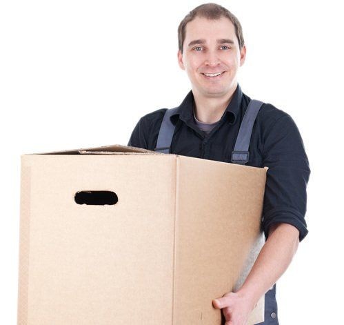 Professional carrying brown box with stuff for moving