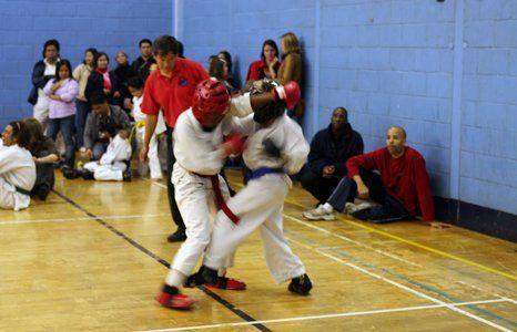a kids karate fight