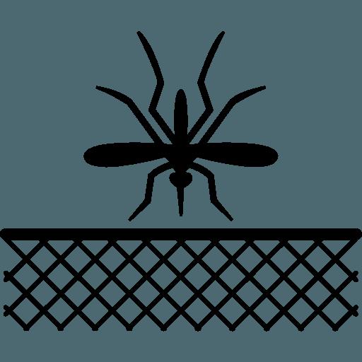 logo di una zanzariera e una zanzara