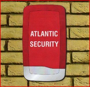 An Alarm box with the words Atlantic Security