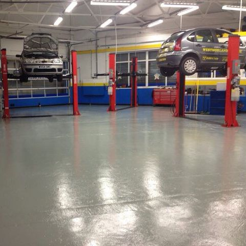 Cars being serviced in our garage in Blackpool
