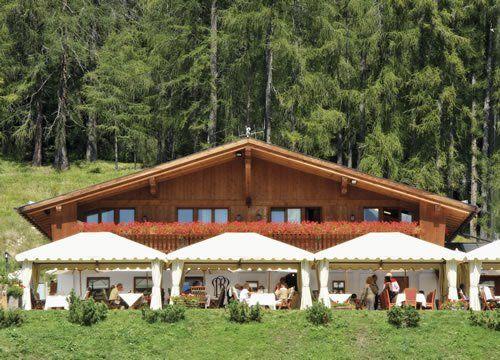 vista frontale ristorante con gazebi e bosco nella parte posteriore