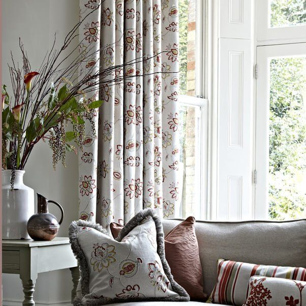 Matching curtains and cushions