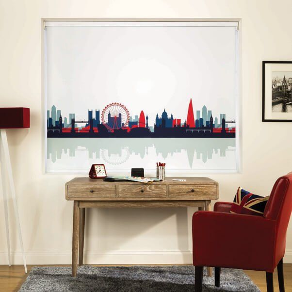 A red, white and blue blind patterned with the London skyline