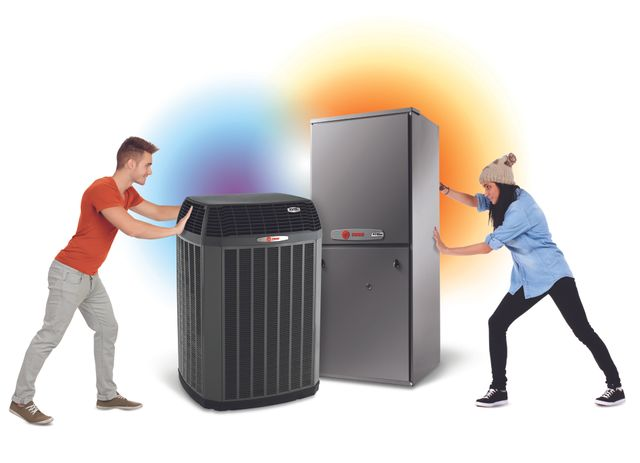 Advertisement for Trane ac unit and furnace