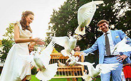 Couple enjoying with birds