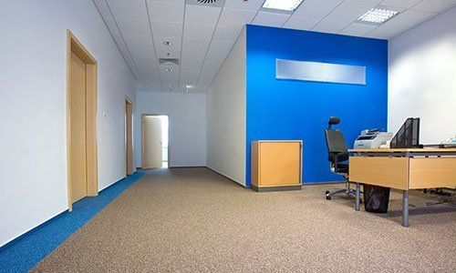Floored carpet in office